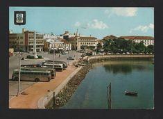 1960yearsPOSTCARD PORTUGAL ALGARVE FARO cars automobiles buses BUS AUTOCARROS