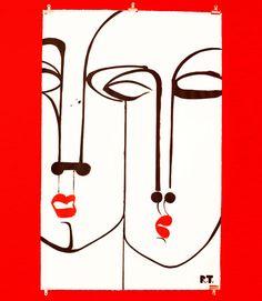 Ruben Toledo - Acryl on Paper African Art Paintings, Scribble Art, Line Art Design, Shape Art, Art Template, Portrait Art, Oeuvre D'art, Creative Art, Painting & Drawing