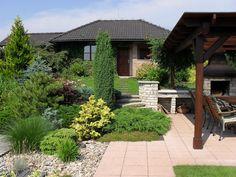 Terraced Landscaping, Privacy Landscaping, Creative Landscape, Landscape Design, Front Garden Landscape, Evergreen Garden, Backyard Garden Design, Dream Garden, Garden Inspiration