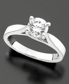 Engagement Ring, Certified Diamond (1/3 ct. t.w.) and 14k White Gold - Rings - Jewelry & Watches - Macy's