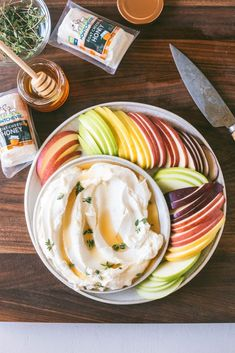 This Honey Whipped Goat Cheese with Apple Slices made with Montchevre Flavored Goat Cheese Logs is perfect for all snacking #goatcheese #dip #apple #whipped