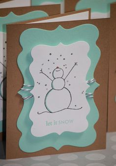 Set of Eight Handmade Christmas Cards Holiday Cards with Snowman Happy Holidays. $16.00, via Etsy. Would be easy to do something like this on my own
