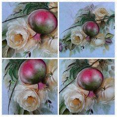 Rosas e Romãs, pintura em tecido feita por Rute Mitie Preto.