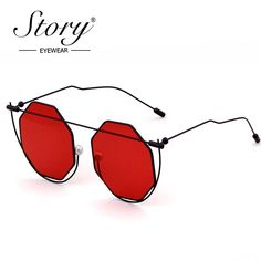 d2aa25ad8cc STORY Brand Eyewear 2018 New Women Men Octagon Clear Sunglasses Brand  Designer Vintage Hollow Out Pearl Red Sun Glasses Price history.