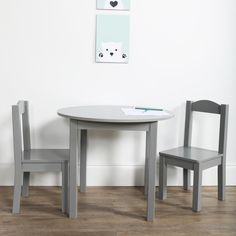 7bc4c5cd727 Tot Tutors Inspire 3-Piece Grey Kids Round Table and Chair Set