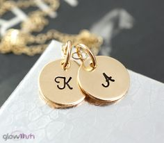 Double charm Initial necklace, Custom letters, Two initials, Gold fill, Gift for mom, Boyfriend Girlfriend Jewelry, Personalized necklace