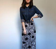 Vintage 70s Long Maxi Skirt Black White by MidnightFlight on Etsy, $38.00