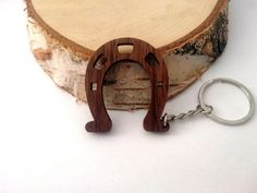 Wooden Horseshoe Keychain,Luck Keychain, Gift Keychain, Walnut Wood, Horse Keychain,  Environmental Friendly Green materials
