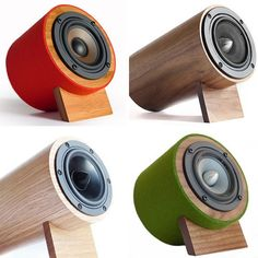 Well Rounded Sound Speakers - Really well-rounded speakers that will absolutely look good in your home. Wooden Speakers, Diy Speakers, Bluetooth Speakers, Desktop Speakers, Speaker Box Design, Sound Speaker, Audio Design, Tablets, Boombox