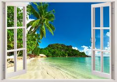 Tropical beach wall sticker 3D window, tropical coast wall decal for home design, tree wall art for kids nursery children decoration [252] by 3DWindowWallStickers on Etsy https://www.etsy.com/listing/203681049/tropical-beach-wall-sticker-3d-window