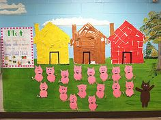 divide kiddos into three groups and each group makes one of the three little pigs' houses