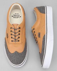 Vans -- California Era Wingtip Leather And Wool Sneaker
