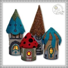 Does your gnome need a home...? This unique tea light set features five different whimsical houses with 7 different mix...