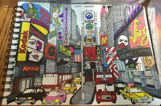 ColorIt Around The World In 50 Pages Colorist: Bonnie Lynn Smith #adultcoloring #coloringforadults #adultcoloringpages #Timesquare #NewYork #Travel