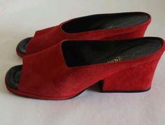 Vintage Yves Saint Laurent Red Suede Slides Size 9M | eBay