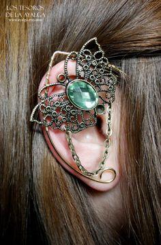 butterfly elven ear cuff - green