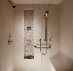 river rock in shampoo niche...would love that if it were the floor too