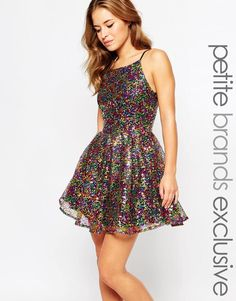 True Decadence Petite | True Decadence Petite Glitter Halter Skater Dress at ASOS