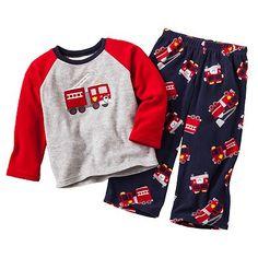 Carter's Fire Truck Raglan Microfleece Pajama Set - Toddler