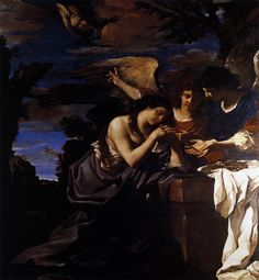 Guercino.  Magdalene and Two Angels.  Oil painting.  Unknown size.  1622.