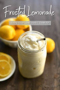 Frosted Lemonade - Mock Chick-Fil-A Frosted Lemonade - Dairy-free and sugar-free. THM-FP #frostedlemonade #trimhealthymama #dairyfree #sugarfree
