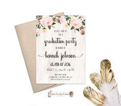 Floral Graduation Party Invitation Rustic by SweetTeaAndACactus