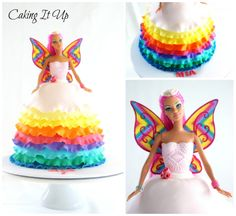 Pretty and colourful rainbow fairy barbie doll cake with rainbow ruffles www.facebook.com/cakingitup