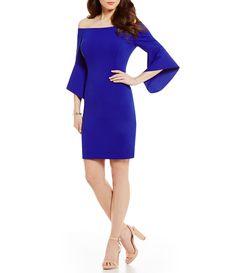 a2ee72bd2099 Antonio Melani Darleen Off-The-Shoulder Bell Sleeve Solid Scuba Crepe Dress