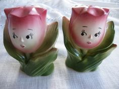 vintage tulips salt & pepper shakers