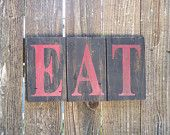 EAT red and black kitchen sign rustic pallet wood sign
