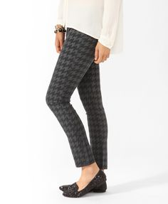 Tonal Houndstooth Ankle Pant | FOREVER21