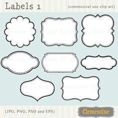 Printable labels clip art images scrapbook by ClementineDigitals