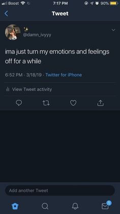 Ima just turn my emotions and feelings off for a while. Quotes Deep Feelings, Hurt Quotes, Mood Quotes, Tweet Quotes, Twitter Quotes, Instagram Quotes, Real Life Quotes, Relationship Quotes, Deep Thought Quotes