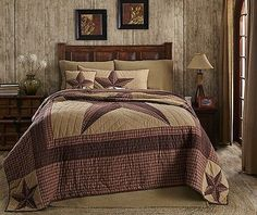 Landon Rustic Country Star Quilts Quilt Sets Red Khaki Check Plaid Bed In A Bag