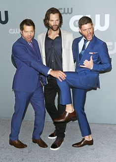 Supernatural's Misha Collins, Jared Padalecki and Jensen Ackles show off their best model poses while arriving at the 2018 CW Network Upfronts on Thursday in L.A.