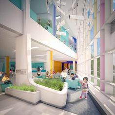 FIRST LOOK: Children's Hospital of Philadelphia Specialty Care Center   Healthcare Design --- Waiting areas offer a variety of spaces for patients and family members to use. Rendering: EwingCole.