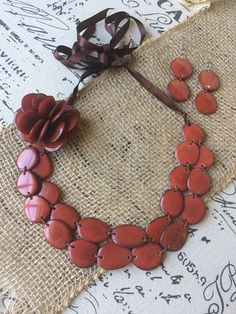 Brown statement necklace and earrings set Tagua nut jewelry