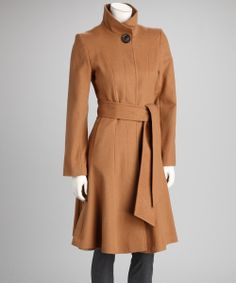 Take a look at this George Simonton Dark Camel Tie-Waist Wool-Blend Coat - Women on zulily today! Very flattering silhouette.