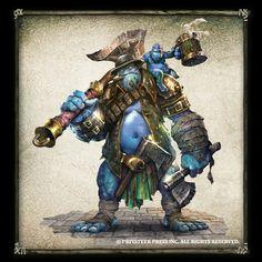Trollkin art blue troll axer