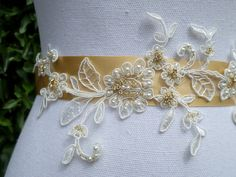 Bridal Sash Embroidered Lace Sash by MagicBluebellDesigns on Etsy