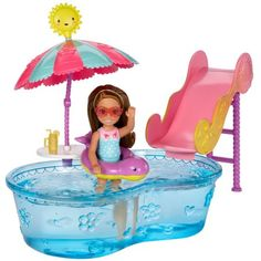 Check out the Barbie Club Chelsea Pool & Water Slide Play Set at the official Barbie website. Explore the world of Barbie today! Ken Doll, Barbie E Ken, Barbie Chelsea Doll, Barbie Doll Set, Barbie Toys, Barbie Stuff, Pool Water Slide, Water Slides, Original Barbie Doll