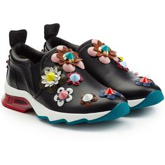 Fendi Leather Sneakers ($995) ❤ liked on Polyvore featuring shoes, sneakers, black, black trainers, studded sneakers, fendi sneakers, floral print shoes and leather sneakers