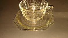 """Clear depression glass tea cup and saucer set """"Madrid"""" by NostalgicGlass, $8.99"""