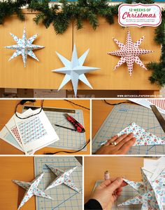 Free Printable Hanging Holiday Stars + Step by Step Picture Tutorial - quick and easy to make and the results are beautiful!