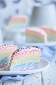 Rainbow Mille Crepe Cake with 30 ultra thin crepes. Learn how to make this stunning dessert for your next party or event. Delicious Desserts, Dessert Recipes, Cake Recipes, Crepe Cake, Cakes Today, Almond Cream, Apple Smoothies, Mille Crepe, Canned Coconut Milk