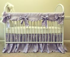Complete the look of your baby girls nursery room with this natural linen lavender bumperless baby bedding. Scalloped rail cover features large bows, hand-gathered ruffles give your nursery room the elegant look. Crib Rail Guard, Crib Rail Cover, Crib Bedding Sets, Linen Bedding, Bed Linen, Baby Bedding, Linen Fabric, Comforters, Nursery Room
