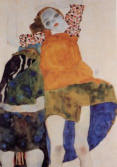 Egon Schiele Two Seated Girls painting, oil on canvas & frame; Egon Schiele Two Seated Girls is shipped worldwide, 60 days money back guarantee. Gustav Klimt, Art And Illustration, Figurative Kunst, Alphonse Mucha, Art Database, Art Moderne, Art Graphique, Pablo Picasso, Oeuvre D'art