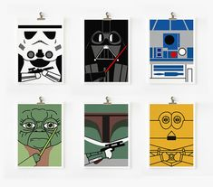 Star wars art print set of 6 Set A by loopzart on Etsy, $40.00. Love the simplicity of these