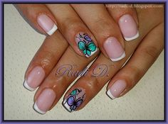White French with Butterflies by RadiD from Nail Art Gallery