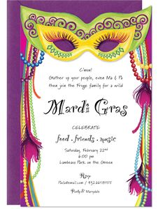 mardi gras invitation - Google Search